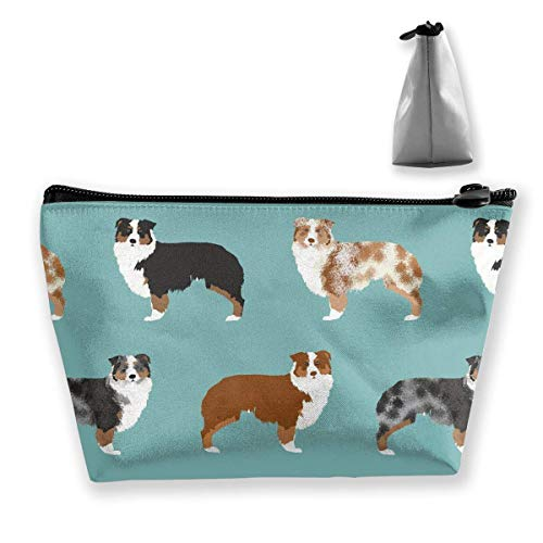 Australian Shepherds Dogs Makeup Pouch Toiletry Storage Cosmetic Bag Organizer Clutch for Women & Girls School Travel Office Crochet Net Bag