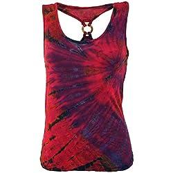 GURU-SHOP, Camiseta Hippie Batik, Camiseta de Tirantes con Anillo, Rosa, Sintético, Tamaño:38, Camisetas, Camisetas, Camisetas