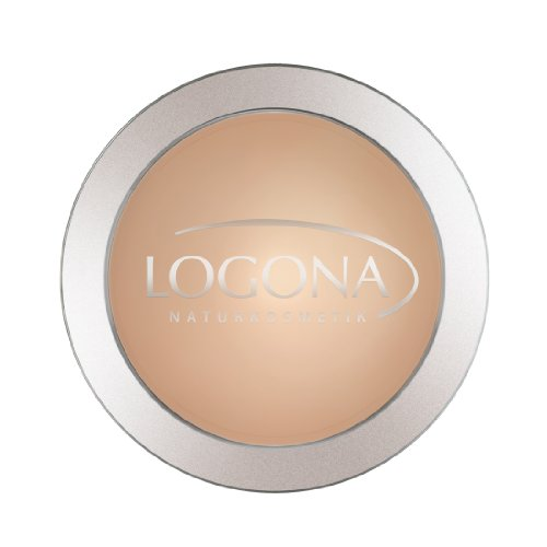 LOGONA Naturkosmetik Face Powder No. 02 Medium Beige, Natural Make-up, mattierender Kompaktpuder, Mittlerer Hautton, Bio-Extrakte, Vegan, 10 g