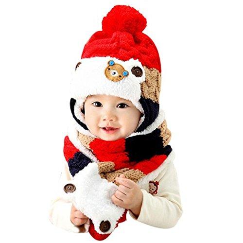 Malloom® Inverno Berretto Bambino Capretti Ragazzi Caldo Hood Sciarpa Lana Cappelli (Rosso)