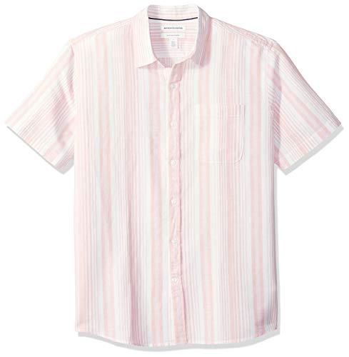 Amazon Essentials Regular-Fit Short-Sleeve Print Linen button-down-shirts, Pink Stripe, US (EU XL-XXL) - Rosa Button Down Shirt