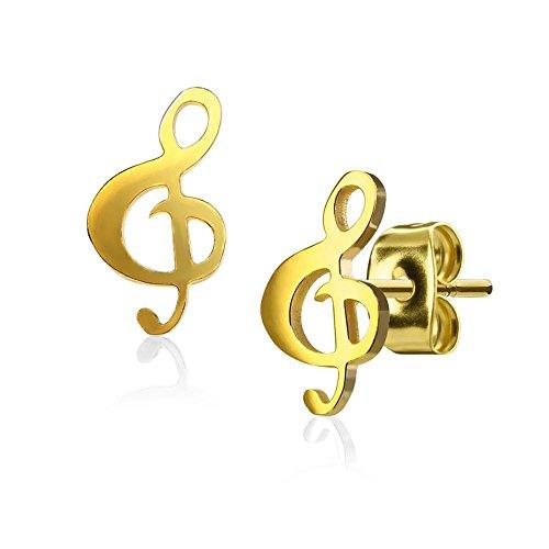 Bungsa goldene Damen-Ohrstecker Notenschlüssel handpoliert I hochwertiges Ohrringe Set für musikalische Frauen Edelstahl