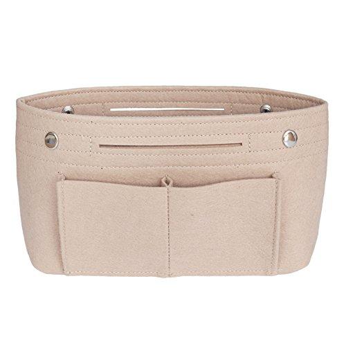 VANCORE Taschenorganizer Handtaschen Organizer Innentaschen für Handtaschen Filz, 8 Fächer (Beige, Klein)