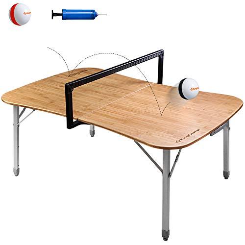 Bambus, Bein, Brust (KingCamp Paeyball Mehrzweck Ballspiel-Tisch Campingtisch Klappbar Bambustischplatte Aluminiumrahmen)