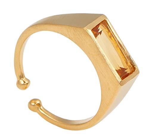Pernille Corydon Damen Treasure Ring - Gelber Citrin Smaragd Schliff Matte Oberfläche - 925 Silber Vergoldet Größe 52 - R198g-52 (Frauen Wedding-ring-gelb Gold)