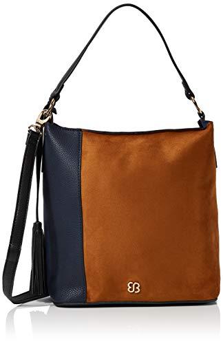 Bessie London Damen Bag Two-Tone Tassel Shopper Schultertasche, Blau (Blue), 15x28x33 Centimeters