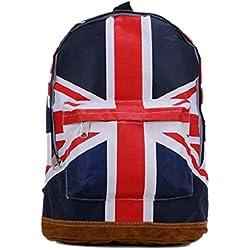 TOOGOO (R) Moda Mujeres Hombres libros de la mochila del bolso de escuela de la taleguilla del campus patron de la bandera britanica