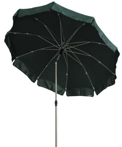 Zangenberg Sonnenschirm Fiberglasschirm Windbreaker Sylt, grün, 200x200 cm rund, Gestell Stahl/Fiberglas, Bespannung Polyester, 3.2 kg