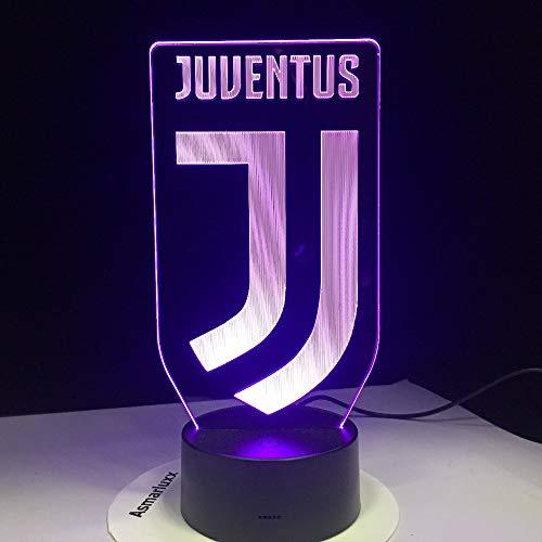 Nmdztz 3D-Nachtlicht 3D Fußball Lampe Juventus Club Neues Logo 7 Bunte Tier Führte Nachtlicht Beste Geschenke Für Kinder Papa Freunde Geburtstagsgeschenk