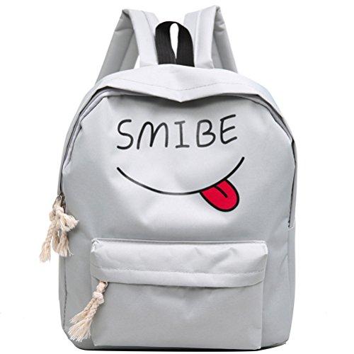 ESAILQ Les femmes sourire adolescente garçon Imprimer Sac à dos école Sacs de mode Sac à bandoulière