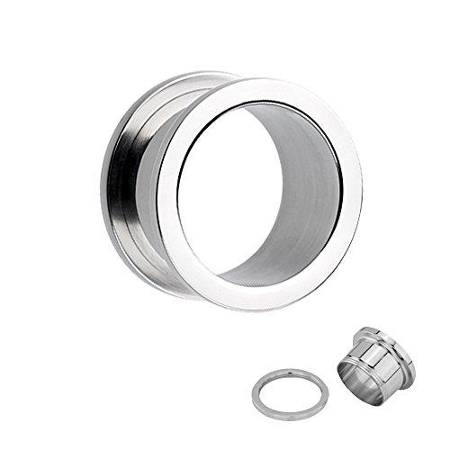 Acciaio argenteo Tunnel Avvitare-30dimensioni: 1,2-50mm-QUALITÀ PROFESSIONALE-avvitabile con filettatura-Piercing per orecchio tappo estensore in acciaio chirurgico argentato, Size, 24 mm