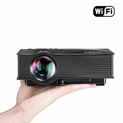 WiFi Beamer, Hizek Mini Projektor mit 1200 Lumens LED Multimedia Heimkino Home Cinema Theater für Telefon / Laptop / PC / SD Karte / Play Station / TV Box / Xbox / USB Disk (Schwarz)