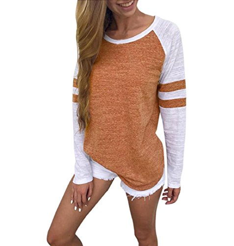 ZEZKT Damen Langarmshirt Rot, Baseball Langarm T-Shirt Rundhals Sweatshirt Frauen Patchwork Blusen Top Herbst (2XL, Orangenfarbig)
