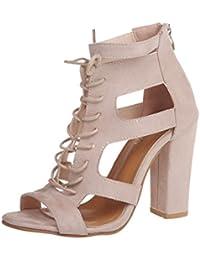 89d648525e8 ALIKEEY Sandalias De Verano para Damas Color Puro Hueco CóModo Tiras  Cruzadas Sandalias Romanas Sandalias De TacóN Grueso Zapatos…