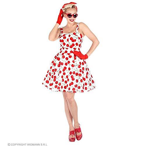 Erwachsenen Für Kirsche Kostüm - Lively Moments Kostüm 50er Jahre in weiß mit Kirschen / Kleid mit Petticoat für Damen / Rockabilly Gr. L = 42 / 44