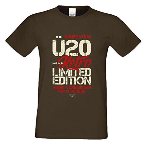 Geschenk zum 20. Geburtstag :-: T-Shirt als Geschenkidee :-: Generation Ü20 :-: Geburtstagsgeschenk für Sie und Ihn Männer und Frauen :-: auch Übergrößen Farbe: braun Braun
