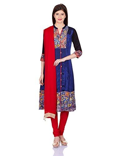 Rain and Rainbow Women's Anarkali Salwar Suit (SKD-4409-AW/13-01_Blue_XL)