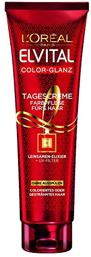 3x L'Oreal Elvital Color-Glanz Tagescrème Farbpflege je 150ml Leinsamen-Elixier