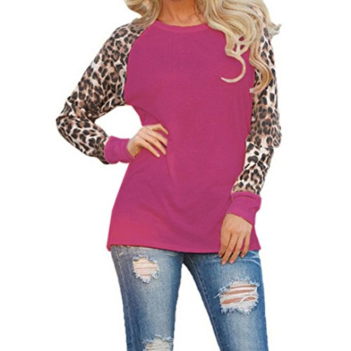 BHYDRY Leopard Bluse Langarm Damenmode Damen T-Shirt Oversize Tops (2XL,Lila)