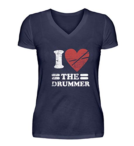 Shirtee I Love The Drummer - Schlagzeuger Schlagzeugerin Drummerin Schlagzeug Trommeln Trommler - V-Neck Damenshirt -S-Dunkel-Blau - Trommeln Dunklen T-shirt