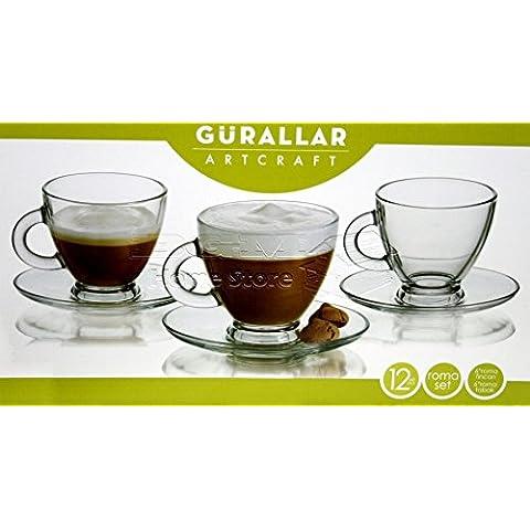 Set de 12 piezas de tazas de café y té de cristal transparente, 180 ml, incluye platitos