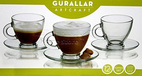 12 Pc Clear Base Tea Coffee Espresso Cups Set Cup Mug Glassware Dining Gift 180ml