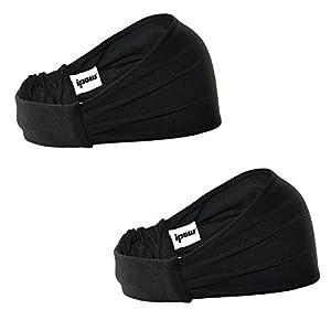 [ 2er Set ] Ipow Sport Stirnband Schweißband elastisch Haarband atmungsaktiv für Alltag Yoga Joggen – Schwarz / unisex für Damen und Herren