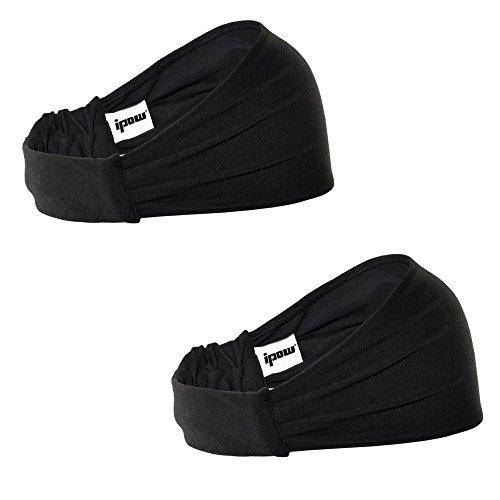 [2 Pièce] Ipow® Sport Bandeau Sport Serre-tête pour Running, Voyage, Yoga, Pilates, Volleyball - Homme & Femme, Fashion sport headband -Noir