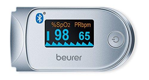 Beurer PO-60 - Pulsioxímetro con bluetooth, color blanco y plata