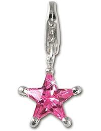 Sueño de plata del 925 plata esterlina Charm estrella Colour rosa colgante para pulsera cadena pendiente FC215P