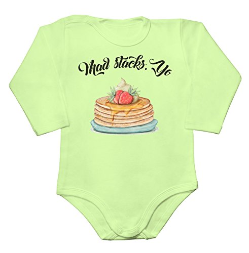Mad Stacks. Yo A Pile Of Delicious Pancakes Baby Long Sleeve Romper Bodysuit Babyspielanzug Extra Large -