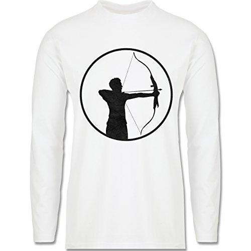 Sonstige Sportarten - Bogenschütze - Longsleeve / langärmeliges T-Shirt für Herren Weiß