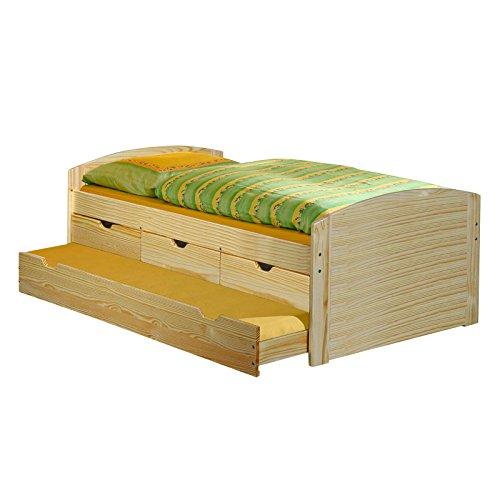 IDIMEX Kojenbett Funktionsbett Schubladenbett JULIA Kiefer massiv natur lackiert Liegefläche 90 x 200 cm (B x L)