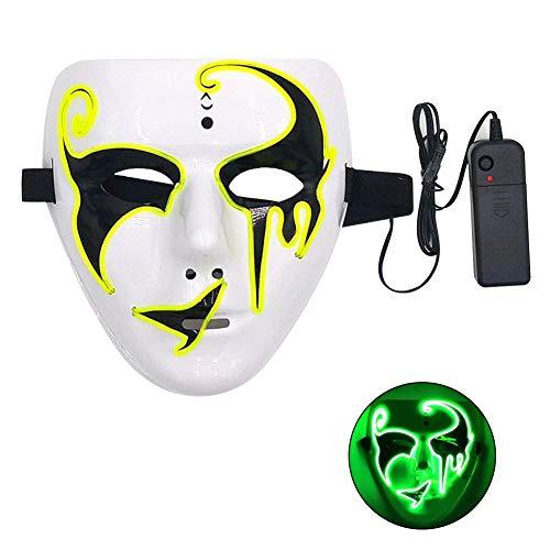 KUANGLANG Fancy Ball Party Maske Beleuchtung Kabel Maske Scary Luminous Mask Festival Weihnachten Kostüm Glow Dance Fakes (Belle Dance Kostüm)