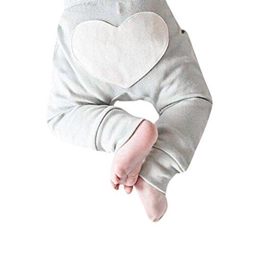 Bekleidung Longra Neugeborene Baby Mädchen Jungen Hosen Herz-Druck Baby-Hosen(0-24Monate) (70CM 6Monate, Gray)
