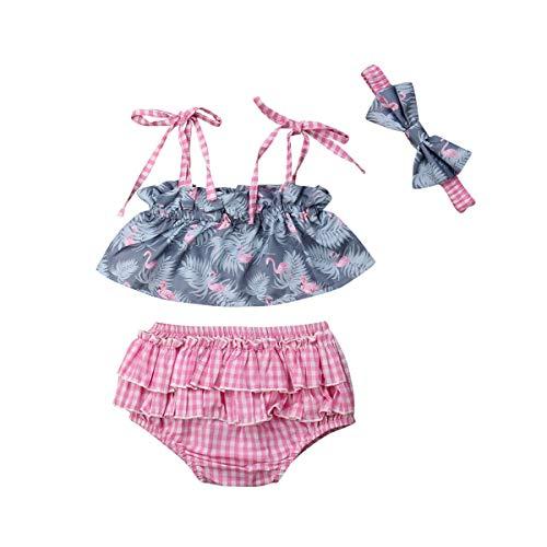 18 Girl Month Kostüm 12 - jsadfojas Baby Girl Kostüm Sling Bow Off Schulter Flamingo Top + Plaid Ruffle Shorts Hosen + Bow Haarschmuck dreiteilige Sommer-Set (1, 12-18m)