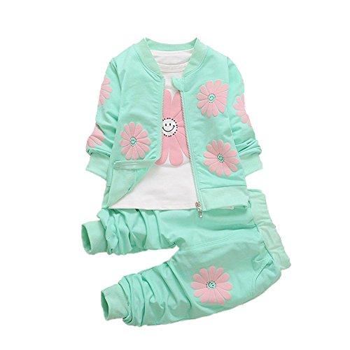Baywell Mädchen Herbst Kleidung Set, Baby Mädchen Sonnenblume Jacke T-Shirt Hosen Baby Sweatshirt Freizeitkleidung (S/1Jahre, Grün)