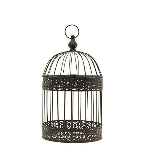 chemin_de_campagne Cage Oiseaux Ronde Marron Décorative Fer 47 cm x ø24 cm