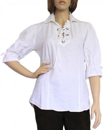 Trachtenbluse Damen Trachten lederhosen-bluse Trachtenmode WEIß, Größe:40
