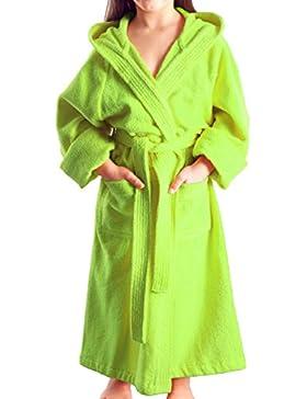 Accappatoio con cappuccio per bambine e ragazze, tessuto in spugna 100% cotone