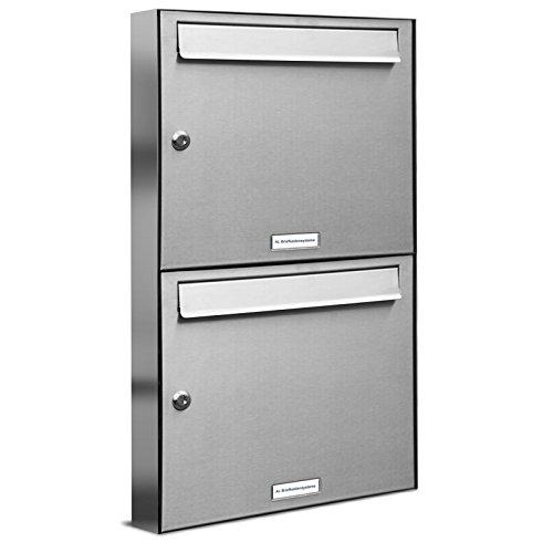 AL Briefkastensysteme 2er Briefkastenanlage Edelstahl, Premium Briefkasten DIN A4, 2 Fach Postkasten modern Aufputz
