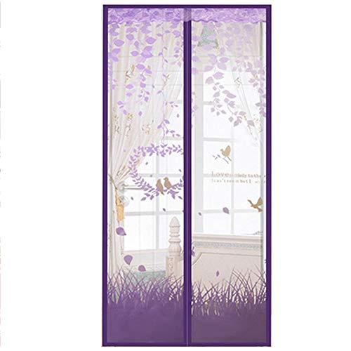 Lila Gaze (Like More Lila magnetische Anti-Moskito-Vorhang weichen Gaze Klettverschluss Vorhang grün kostenlose Magnetstreifen Anti-Staub-Mute-Gaze   für Zuhause,100 * 210cm)