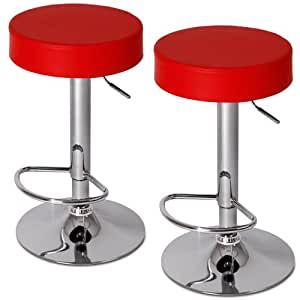 Miadomodo Swivel Bar Stools (Set of 2) Round Height Adjustable Chairs (Red) Kitchen Dining Home Furniture