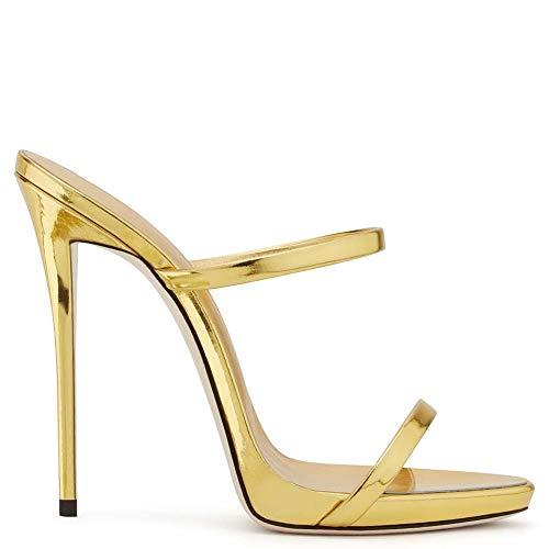 XLY Frauen Sexy Metallic Open Toe Doppel Riemen Heels Mules High Heels Slingback Slide Sandalen,Gold,44