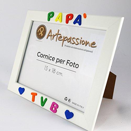 Cornici per foto in legno con la scritta Papà TVB e decorata con cuoricini, da appoggiare o appendere, misura 13×18 cm Bianca. Ideale per regalo e ricordo. - 2