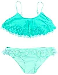 PinkLu Bikini De Traje De BañO con Abertura Lateral De Encaje con Volantes Huecos para NiñAs BebéS Infantiles NiñAs Volantes Traje De BañO Traje De BañO Bikini Conjunto De Trajes