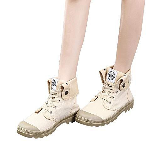 MYMYG Damen Militär Ankle Schuhe Freizeitschuhe Lace Up Plateauschuhe Klassische Ankle Boots Retro warme Stiefel Herbst Winter Sneaker Übergangsschuhe Winterschuhe