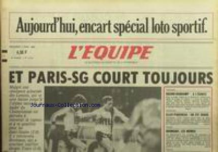 EQUIPE (L') [No 12410] du 02/04/1986 - PARIS - SG COURT TOUJOURS - RACING-GUIMGAMP - ATHLETISME - ELLOY - PIQUEREAU - RUGBY - ROUMANIE.