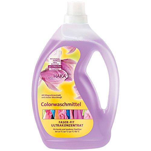 HAKA Colorwaschmittel Faser Fit I 2 Liter Flasche I 40 Wäschen I Waschmittel hautfreundlich und ohne Bleichmittel I Für Buntwäsche