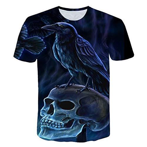 Sommert-shirtMännersommer-beiläufige Tarnungs-Druck-mit Kapuze ärmelloses T-Shirt Spitzenweste,Dark Bird Blue 3XL
